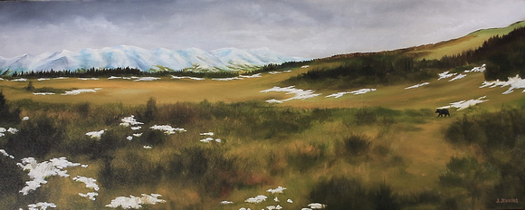 early autumn meadow  16x40 inches