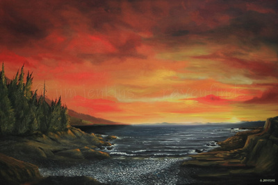 botanical beach sunrise 24x36  inches