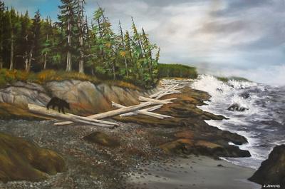 botanical beach black bear 24x36  inches